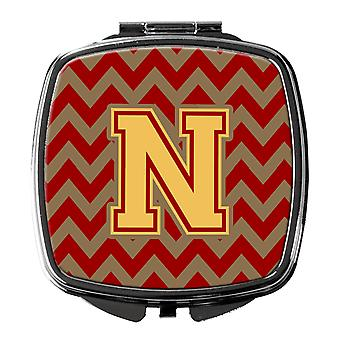 Letter N Chevron Garnet and Gold  Compact Mirror