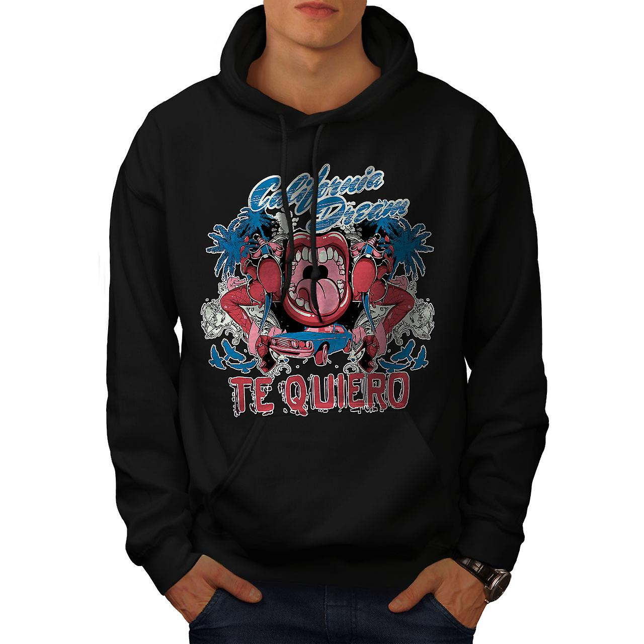 Te Quiero Art California Men Black Hoodie | Wellcoda