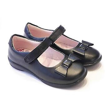 Lelli Kelly Girls Black Leather School Shoes With Leather Bow | Lelli Kelly Perrie LK8206