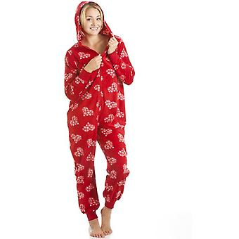 Camille Supersoft Fleece Red And White Snowflake Love Heart All In One