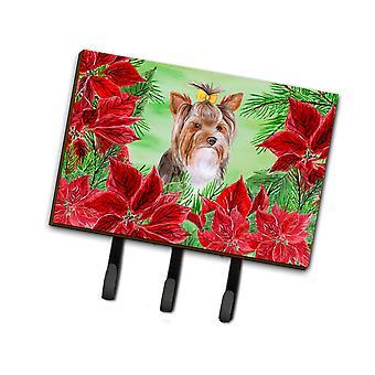 Yorkshire Terrier #2 Poinsettas Leash o llavero