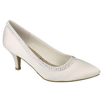 Ladies Womens Ivory Satin Wedding Bridal Slip On Diamante Courts Shoes