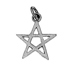 Silver 19x19mm plain Pentangle pendant or charm