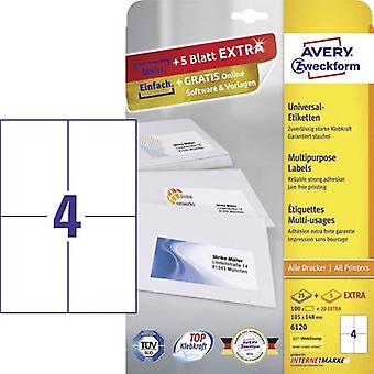 Avery-Zweckform 6120 Labels (A4) 105 x 148 mm Paper White 120 pc(s) Permanent All-purpose labels Inkjet, Laser, Copier