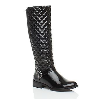 Ajvani womens low heel flat biker stretch quilted riding zip wide calf winter knee boots