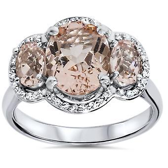 2 3 / 4ct 3 Stein ovalen Morganit & Diamond Halo Ring 14K Weissgold