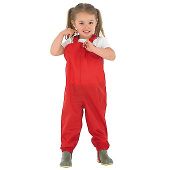 Childrens Waterproof Dungarees - Red Protective kids overalls rainwear Snow