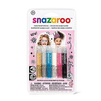 Snazaroo Pack of 6 Girls Face Paint Sticks Fancy Dress Accessory
