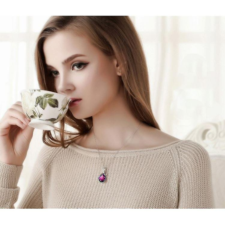 Charles William Real Crystal Jewellery Hot Pink Teardrop Women's Pendant Necklace