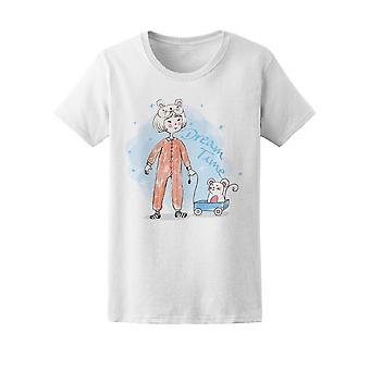 Dream Time Cute Girl & Mouse Tee Women's -Image by Shutterstock