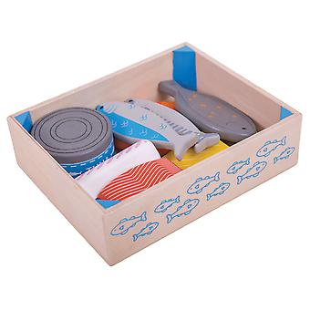 Bigjigs Toys Wooden Play Food Fish Crate Pretend Role Play Kitchen