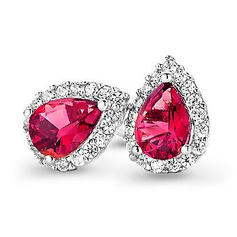 Orphelia Silver 925 Earring Drop Ruby Color Zirconium  ZO-7226/RU