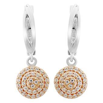 Orphelia Silver 925 Earring Round Zirc White/Rose   ZO-7120