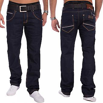 New mens jeans pants designer creased effect Clubwear Style Slim Fit narrow