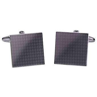 David Van Hagen Shiny Gunmetal Square Laser Print Houndstooth Cufflinks - Grey