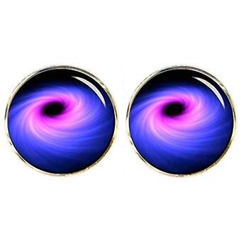 Bassin and Brown Black Hole Cufflinks - Navy/Blue/Purple