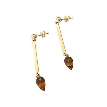 Gemshine - Panie - kolczyki - karatowym złotem - cytryn - drops - płaszczyznowe 3,9 cm - żółty-