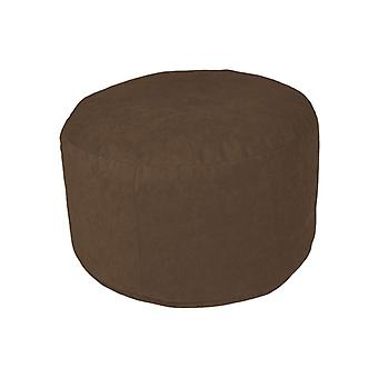 Pouf Ottoman stool round Microvelour dark brown 34 x 50 x 50 cm