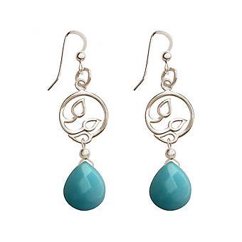 Ladies - earrings - earrings - 925 Silver - grape leaves - turquoise - drop - blue - YOGA - 4,5 cm
