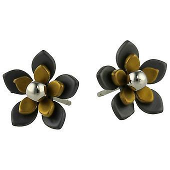Ti2 Titanium Black Back Five Petal Flower Stud Earrings - Tan Beige