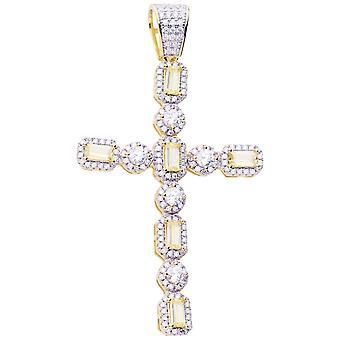 Premium Bling - 925 sterling sølv kors anheng-gull