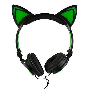 LED kattöron hovedtelefoner-sort og grøn