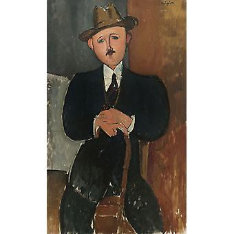 Seated Man with a Cane, Amedeo Modigliani, 40x60cm with tray