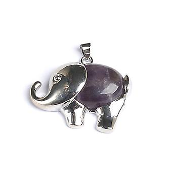 1 x paarse Amethist 25 x 36mm olifant hangertje/CB47290