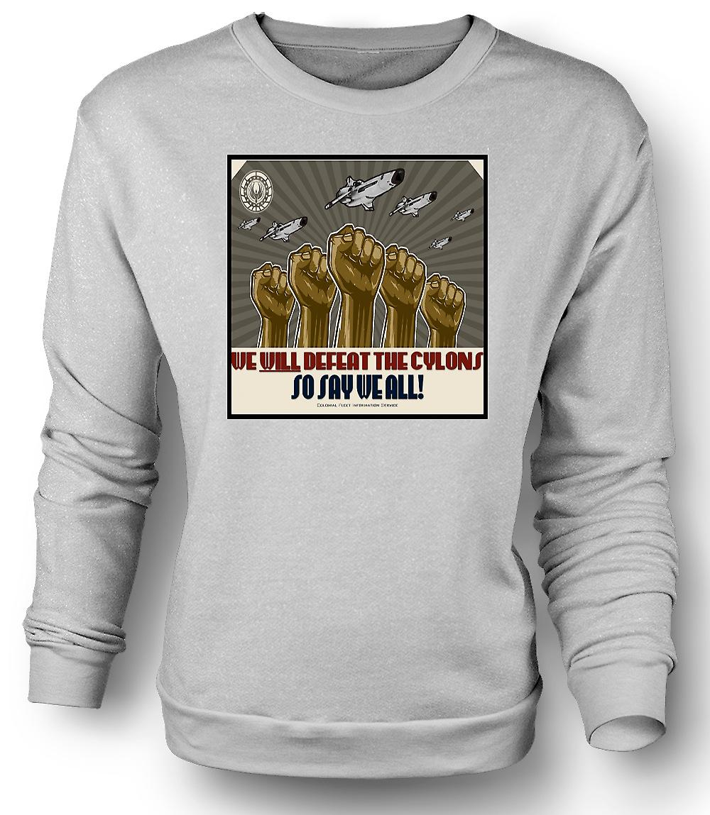 Mens Sweatshirt Battlestar Gallactica Defeat Cyclons