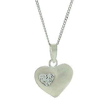 TOC Girls Sterling Silver Rhinestone Set Puffed Heart Pendant Necklace 14