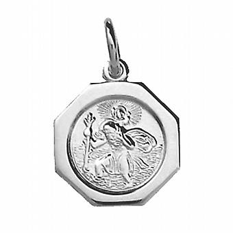 Silver 15x15mm octagonal St Christopher Pendant