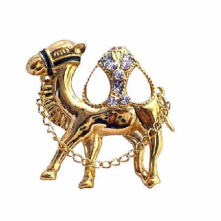 Gold Camel Hump Cubic Zircon Glass Beads with Chain Camel Brooch