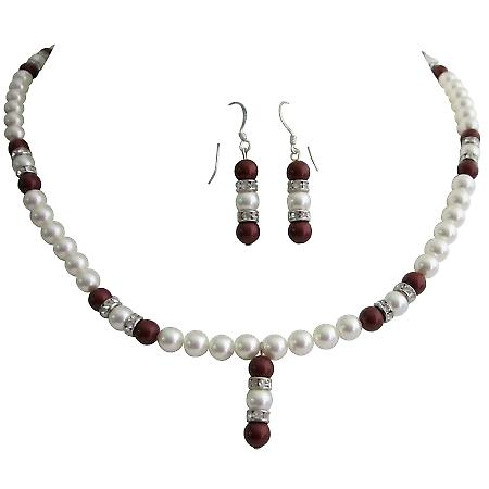 Sophisticate Jewelry Wine Bordeaux Swarovski Pearls Necklace Earrings