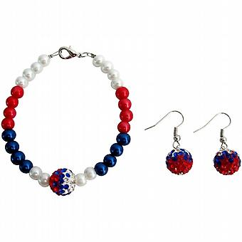 4th of July Patriotic Military Mom Jewelry Red White Blue Bracelet