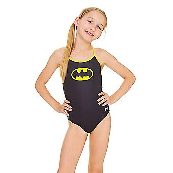 Zoggs Girls' Batman Sprintback Swimsuit, Black/Yellow