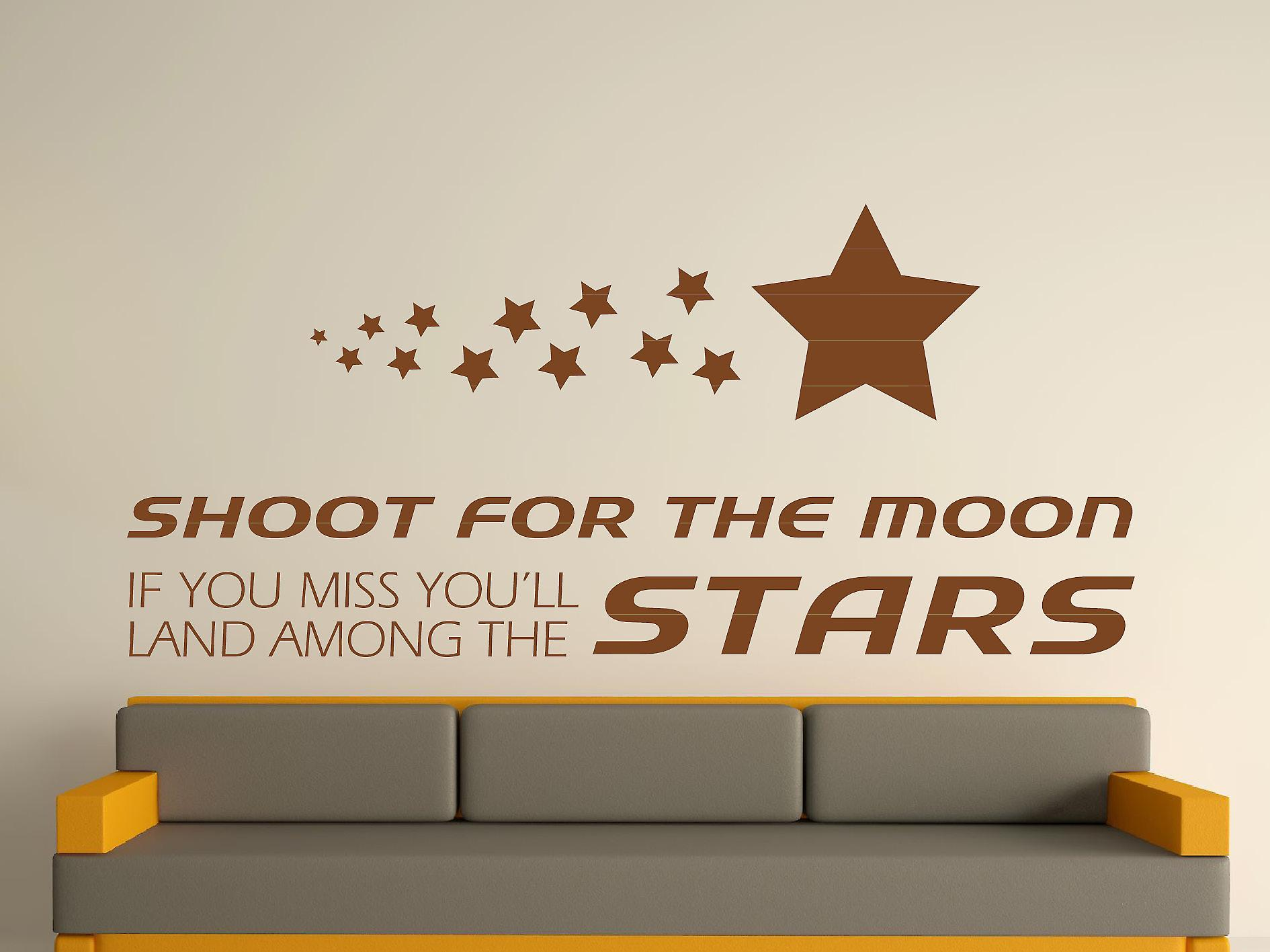 Shoot For The Moon Wall Art Sticker - Brown