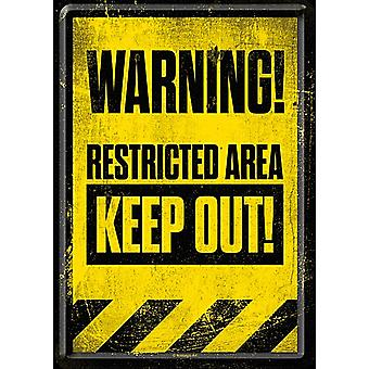 Warning Restricted Area Keep Out metal postcard / mini-sign (na)