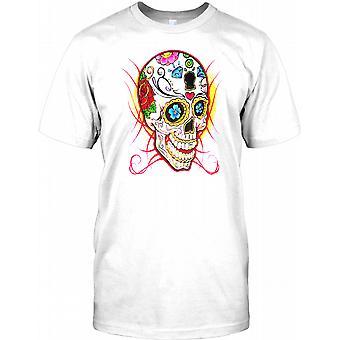 Mexikanischen Sugar Skull Flammen T Shirt für Herren