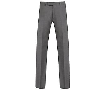 Dobell Mens Grey Sharkskin Suit Trousers Slim Fit