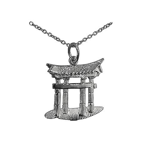 Silver 20x18mm Torii Gate Pendant with a Rolo Chain 14 inches Only Suitable for Children