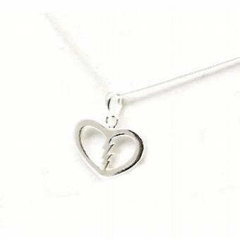Toc Sterling Silver Lightening Design Heart Pendant on 18 Inch Chain