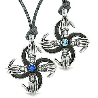Supernatural Dragon Amulet Powers Love Couples Best Friends Royal Sky Blue Crystals Adjustable Necklaces