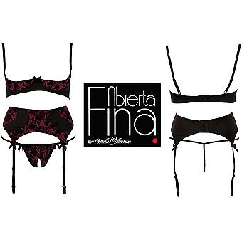 'Abierta Fina' by Cottelli Red 3 Piece Set Bra,Suspenders,Thong (2220164)