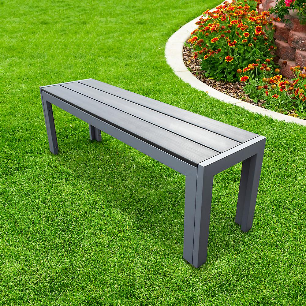 Polywood Grey Outdoor Garden Bench with Aluminium Frame - Weather Resistant