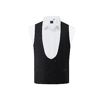 Dobell Mens Black Tuxedo Waistcoat Regular Fit Double Breasted