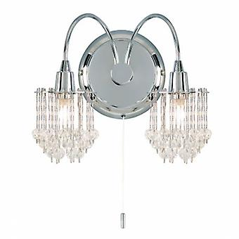 2 Light Indoor Wall Light Chrome With Clear Faceted Glass Beads