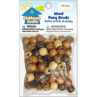 Clubhouse Crafts Wood Pony Beads 90 Pkg 89001 25