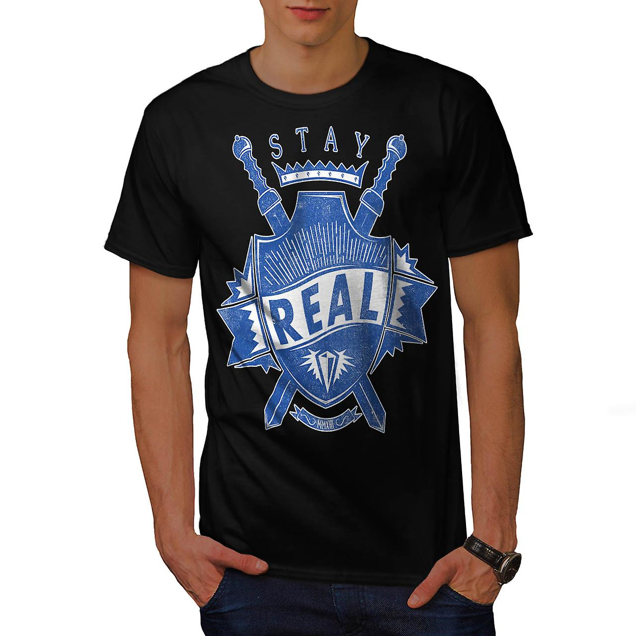 Stay Real Ambition Sword Shield Men Black T-shirt | Wellcoda