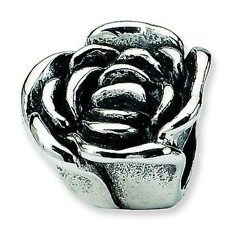 Sterling Silver Antique finish Reflections SimStars Rose Floral Bead Charm