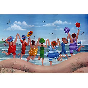 Beach Party Rainbow Scene Poster Print by Peter Adderley